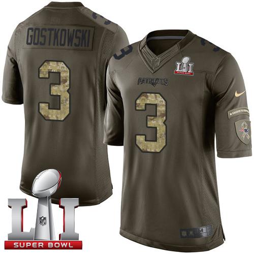 Nike Patriots #3 Stephen Gostkowski Green Super Bowl LI 51 Men's Stitched NFL Limited Salute to Service Jersey